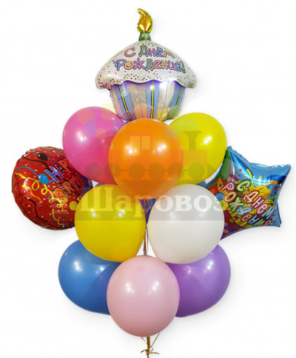 """Букет из шаров """"С Днем Рождения"""""""
