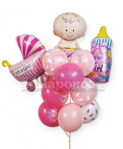 """Букет из шаров """"С рождением дочки"""""""