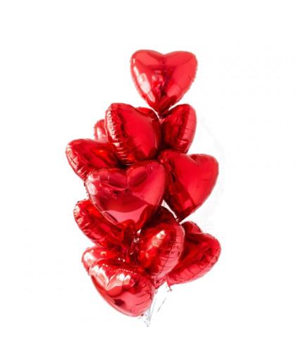 """Букет из шаров """"Сердца красные"""""""