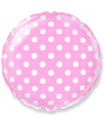 Фольгированный шар Круг Розовый в горошек